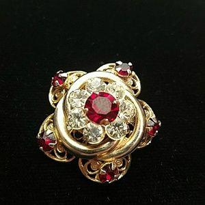 Vintage Rhinestone gold ruby red lapel pin brooch